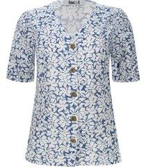 blusa estampada con botones en frente color azul, talla 6