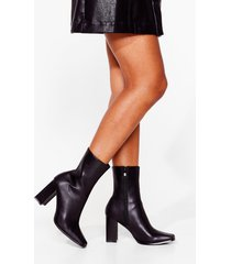 womens in case you didn't toe faux leather heeled boots - black