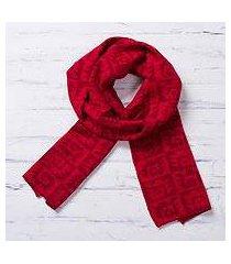 alpaca blend scarf, 'red paracas shadows' (peru)