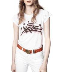 women's zadig & voltaire skinny jormi strass graphic tee, size medium - ivory