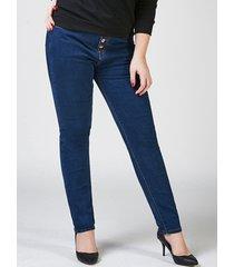 pantaloni sottili stretti di denim stretti della vita alta solida delle donne casuali