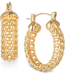 "charter club gold-tone small chain link hoop earrings, 1"", created for macy's"
