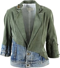 army green cotton & denim blazer