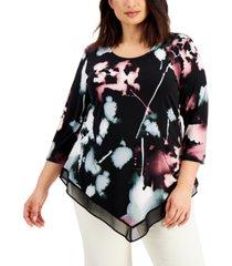 alfani plus size printed sheer-hem top, created for macy's