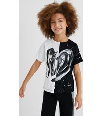cotton t-shirt bicolour heart - white - 9/10