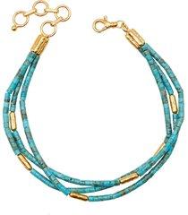 jet set turquoise triple strand bracelet
