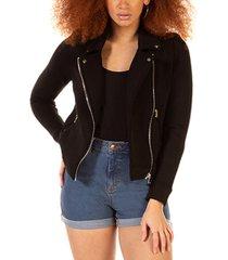 black tape stretch-knit moto jacket