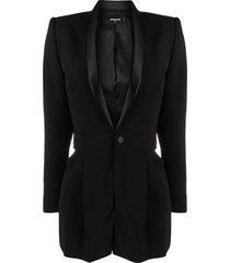 dsquared2 silk lapel suit jacket playsuit - black