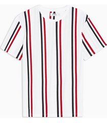 mens white stripe pique t-shirt