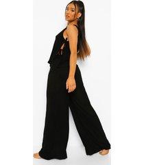 petite wide leg pyjama set met broek en strik, black