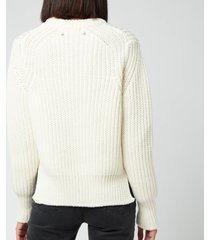 golden goose women's dottie merino wool mending embroidery sweater - beige - l