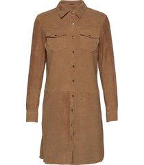 long shirt knälång klänning brun depeche