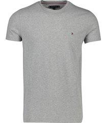 tommy hilfiger t-shirt stretch grijs slim fit