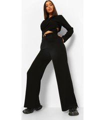 baggy wide leg broek met zijsplit, black