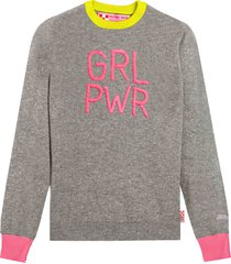 mc2 saint barth grey woman sweater girl pwr fluo embroidery and fluo details