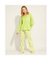 pijama de algodão manga longa pantone verde