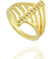 anel dona diva semi joias faixa zircônias dourado
