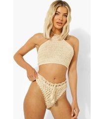 gehaakte bikini broekje met hoge taille, sand
