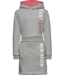 d1. gant color hoodie dress jurk grijs gant