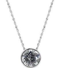 "arabella swarovski zirconia solitaire 18"" pendant necklace in 14k white gold"