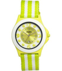 crayo unisex carnival lime, white nylon strap watch 39mm