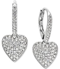 eliot danori pave heart drop earrings, created for macy's