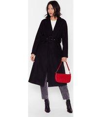 coat belted longline coat with v-neckline