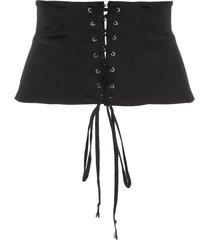 fleur du mal corset-style silk belt - black