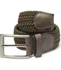 cinturón trenzado combinado verde militar y cafe doshka
