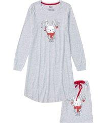 camicia da notte in cotone biologico con sacchetto regalo (grigio) - bpc bonprix collection