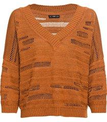 gebreide pullover van linnen met v-hals, brandy 36/38