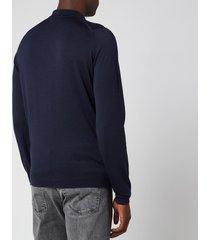 john smedley men's belper 30 gauge extra fine merino wool long sleeve polo-shirt - midnight - m