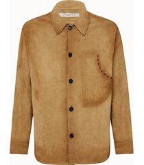golden goose deluxe brand camicia sawyer in pelle scamosciata