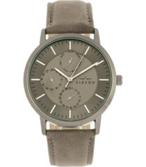 elevon men's lear genuine leather strap watch 42mm