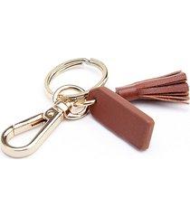royce new york mini tassel key chain - tan