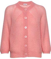 mohair 3/4 sleeve cardigan gebreide trui cardigan roze filippa k