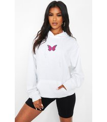 hoodie met vlinder print, white