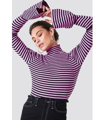 na-kd ribbed bell sleeve top - pink