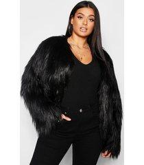 plus pluizige faux fur jas, zwart