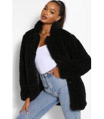 lang oversized jas van imitatiebont, zwart