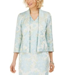 kasper 3/4-sleeve shawl collared jacket