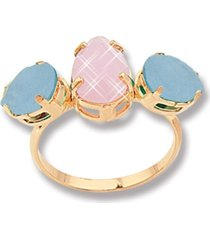 anel le diamond luiza três cristais dourado