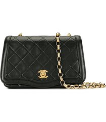 chanel pre-owned 1990 quilted full flap shoulder bag - black