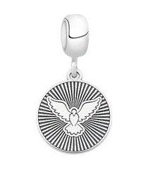 berloque de prata espírito santo redondo moments