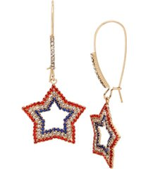betsey johnson star long drop earrings in gold-tone metal, 2.5""
