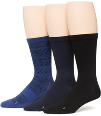 perry ellis portfolio men's 3-pack performance microfiber allover texture mix crew socks