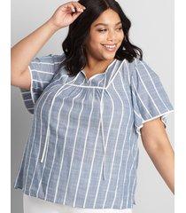 lane bryant women's tie-neck flutter-sleeve top 24 blue and white stripe
