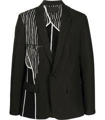 harrison wong ribbed contrast panel suit jacket - black