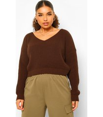plus vissers crop top met v-hals, chocolate