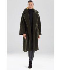 natori faux shearling jacket, women's, green, size l natori
